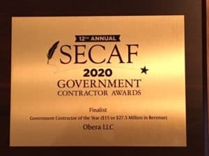 OBERA LLC NOMINATED AS FINALIST FOR SECAF 2020 GOVERNMENT CONTRACTOR AWARD